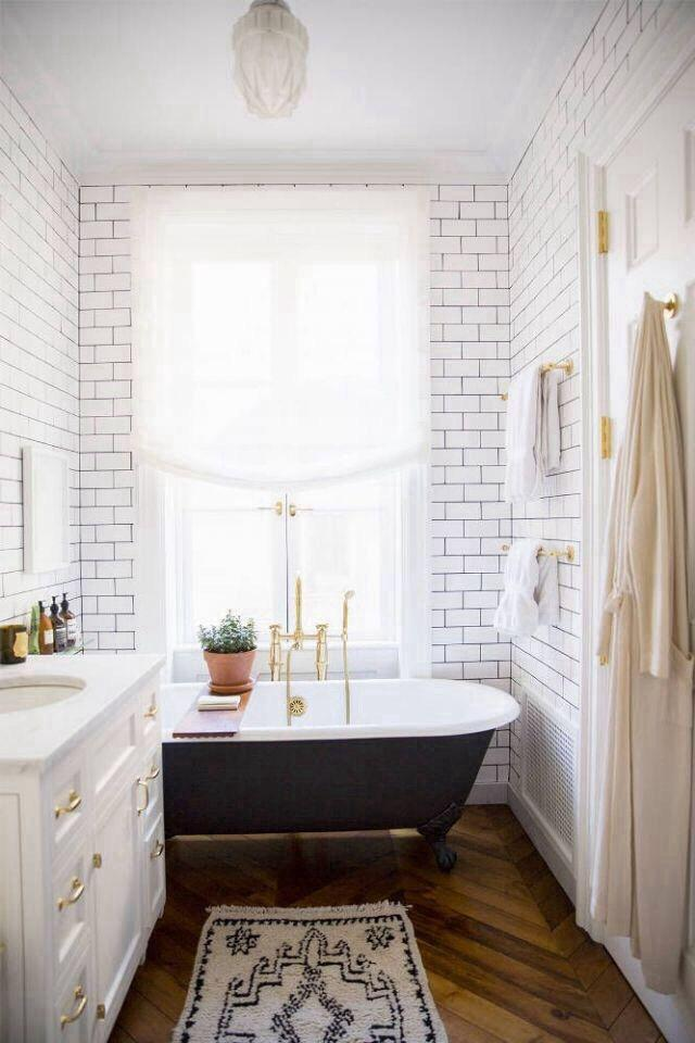 Shabby Chic Bathroom With Black Clawfoot Bathtub