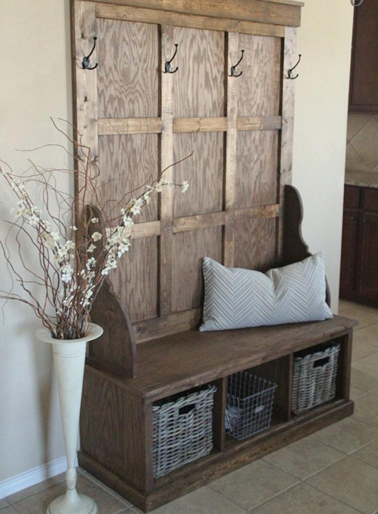 Foyer Bench With Coat Hooks : Organized hallways with beautiful coat rack bench rilane