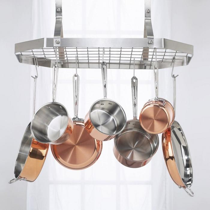 10 hanging pot and pan rack organizer rilane for Kitchen s hooks for pots and pans