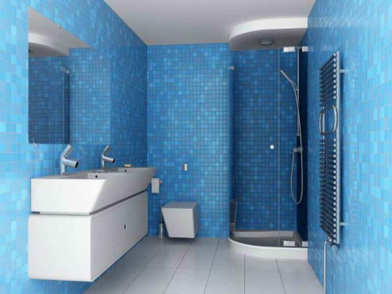 Charmant Sleek Blue Bathroom