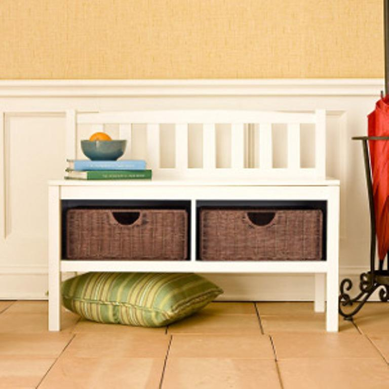 Charmant Small White Hallway Bench With Additional Storage