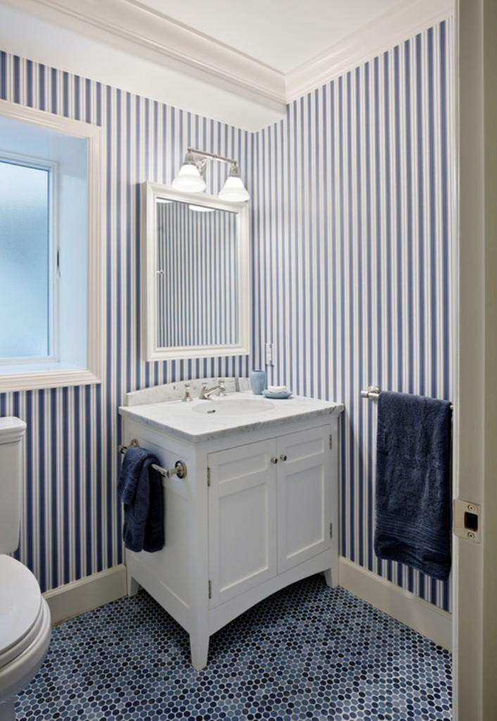 Striped Blue Bath