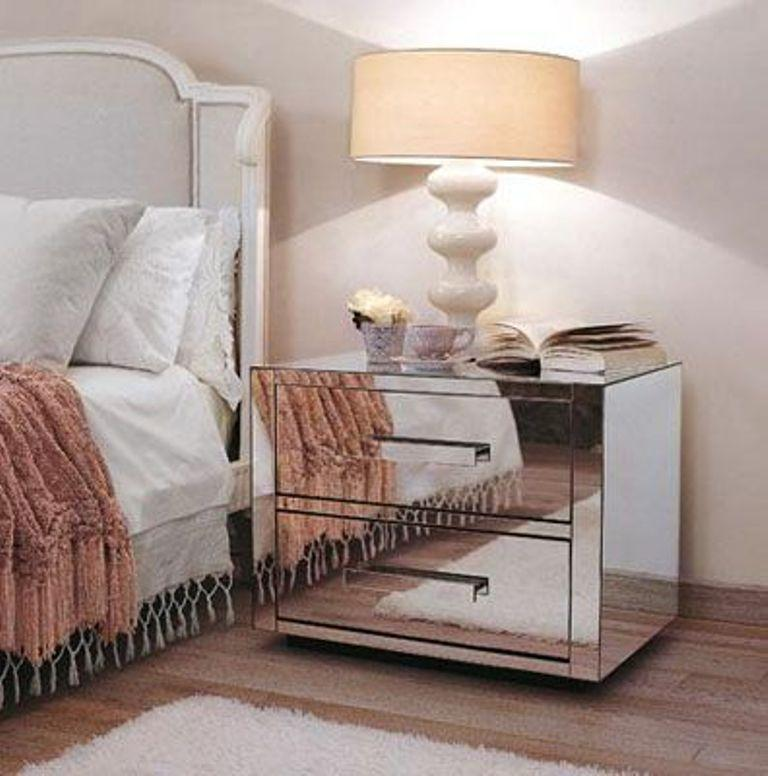 Two Drawers Mirrored Bedside Table