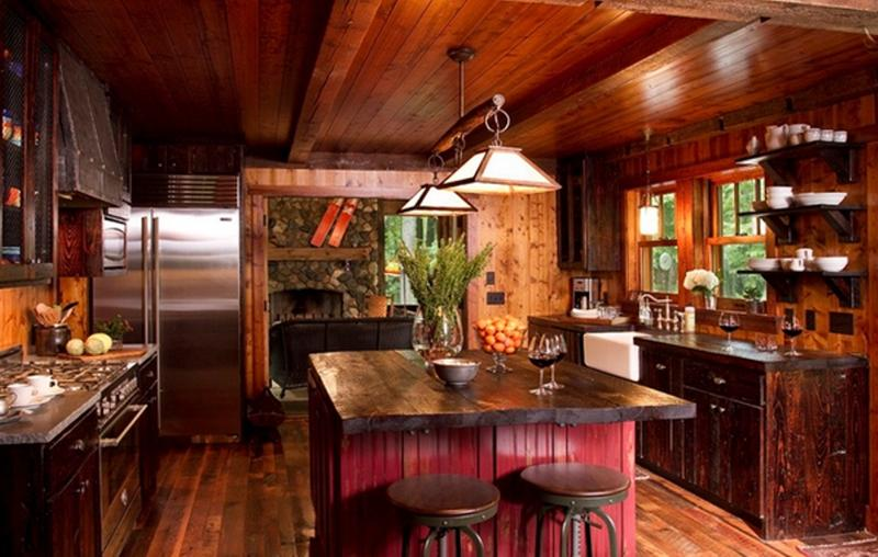 Warm Kitchen With Exposed Roof