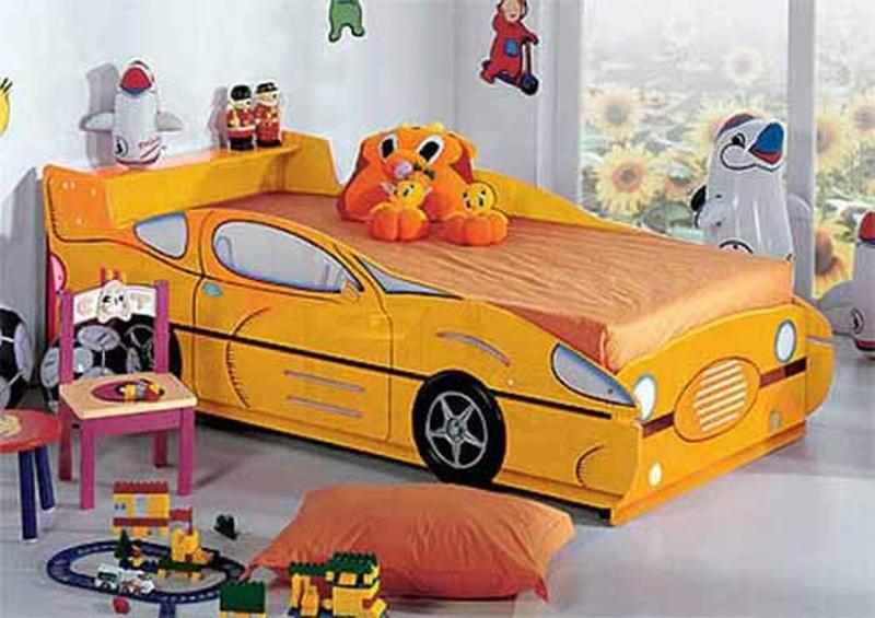 yellow car inspired bed for boys