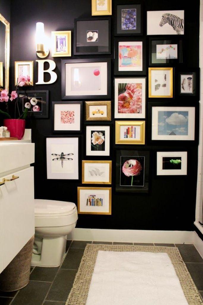 Artistic Black Bathroom. Image Source: Elle Decor