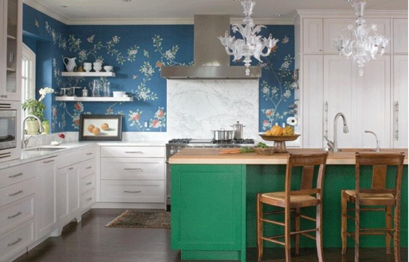 Beautiful Kitchen With Japanese Floral Wallpaper