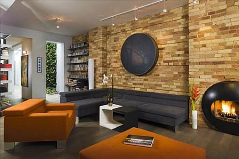 Lovely Beautiful Living Room With Natural Stone Wall