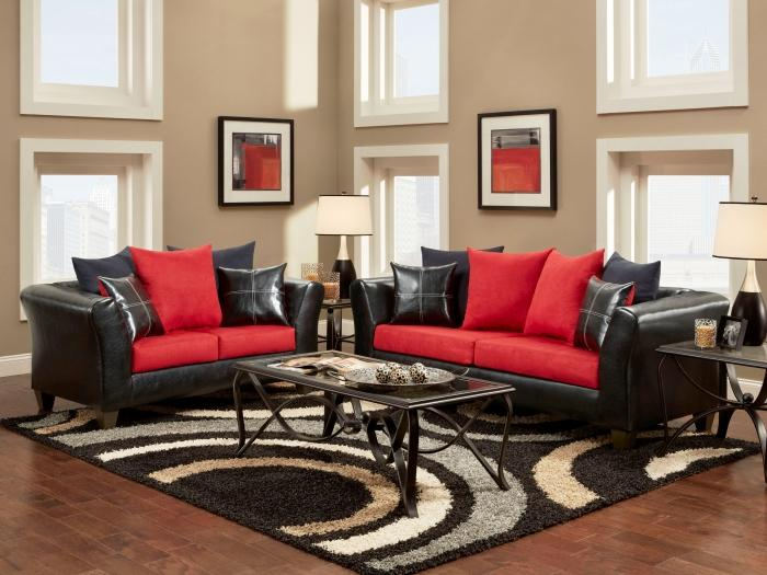 Merveilleux Black And Red Elements In An Airy Living Room