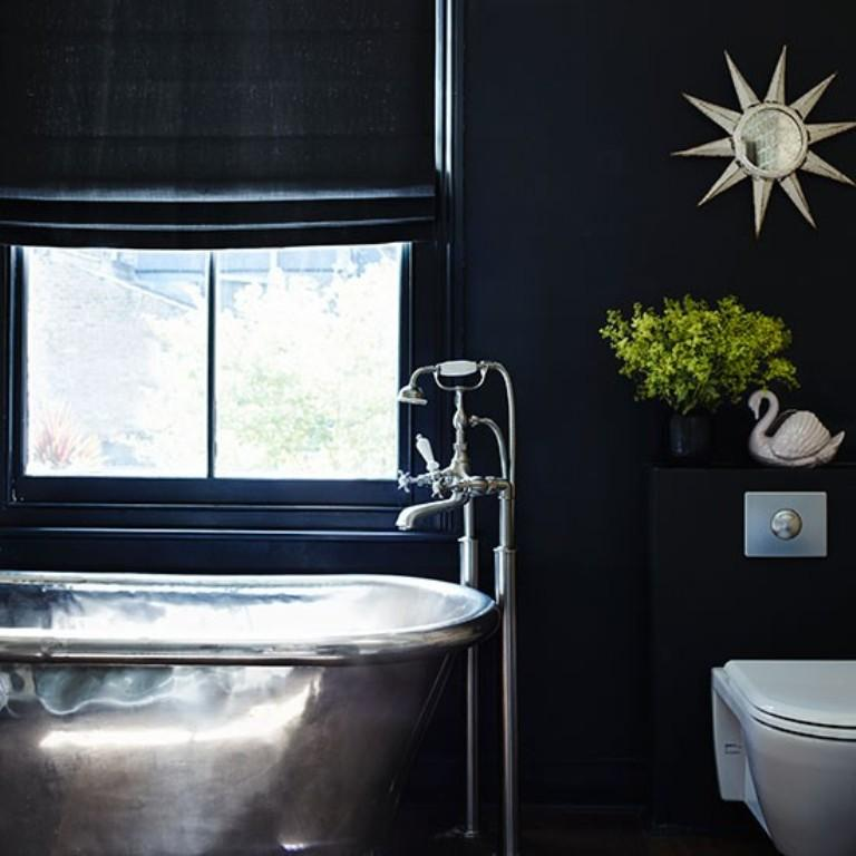 Black Bathroom With Steel Bathtub