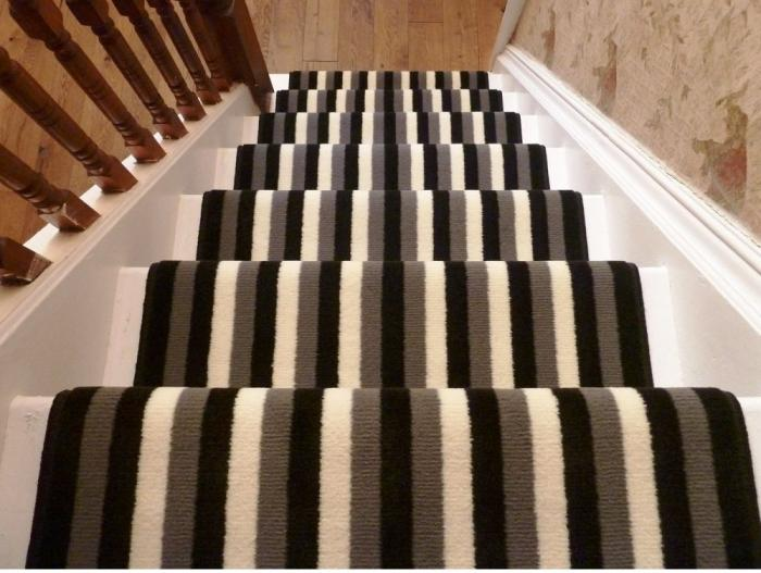 Black, Grey And Cream Stripes Stair Runner