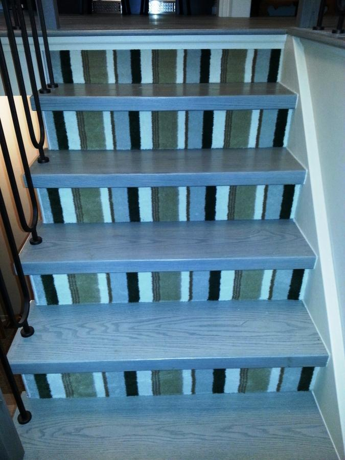 Blue, Green And Black Stripe Stair Runners