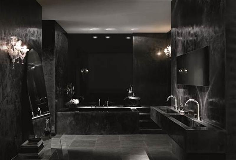 20 bold black bathroom design ideas rilane - Salle de bain rouge et noir ...