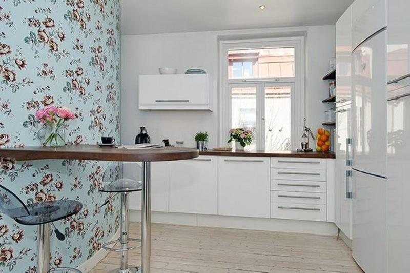 15 charminng kitchens with floral wallpaper rilane for White kitchen wallpaper