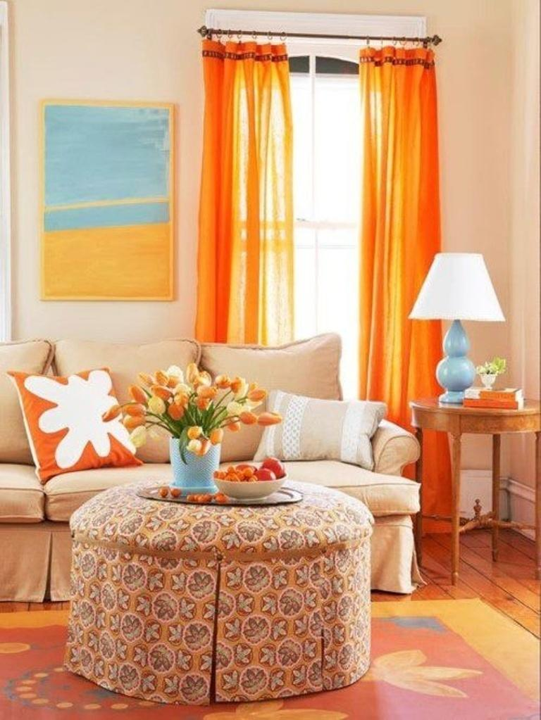 Bright Orange Living Room Curtain