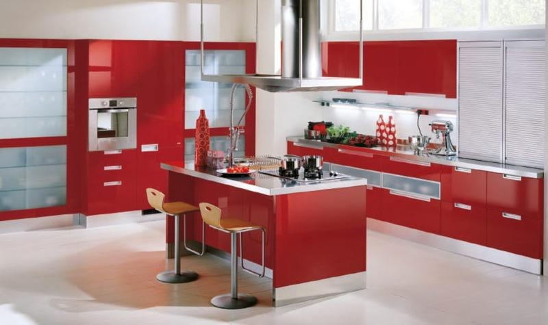 Charming Bright Red Kitchen Cabinets Pictures Gallery