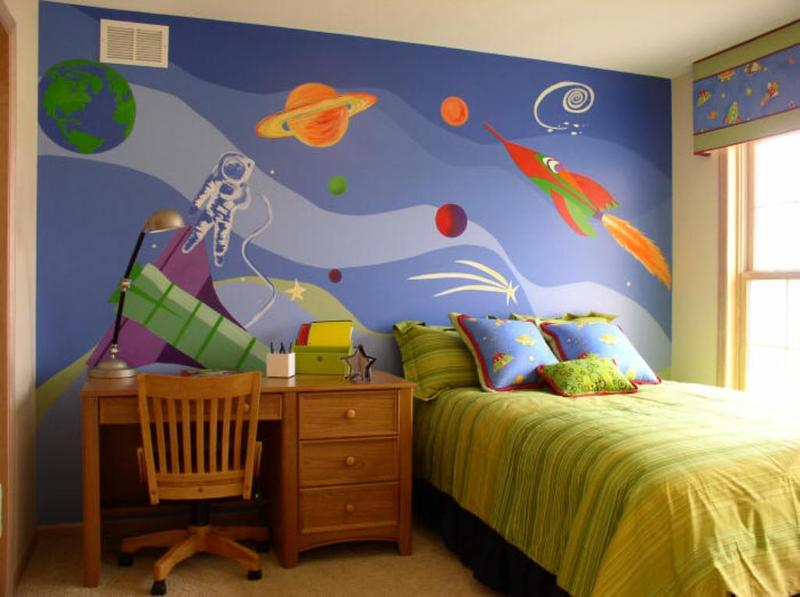 bright space themed bedroom - Boy Bedroom Theme
