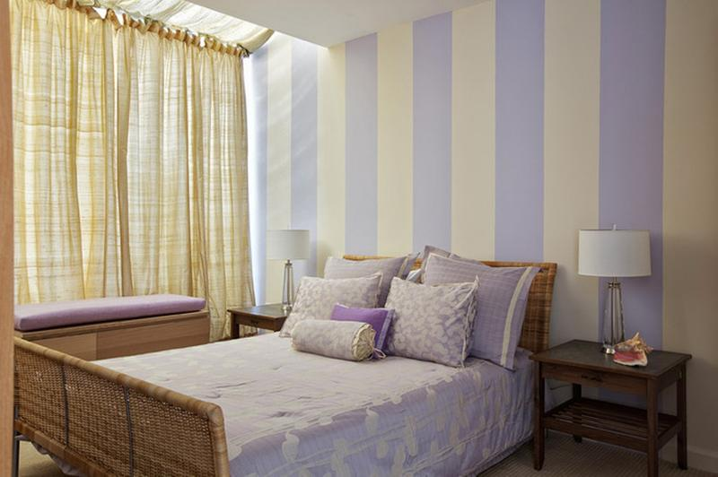 Charming Bedroom with Purple Striped Walls