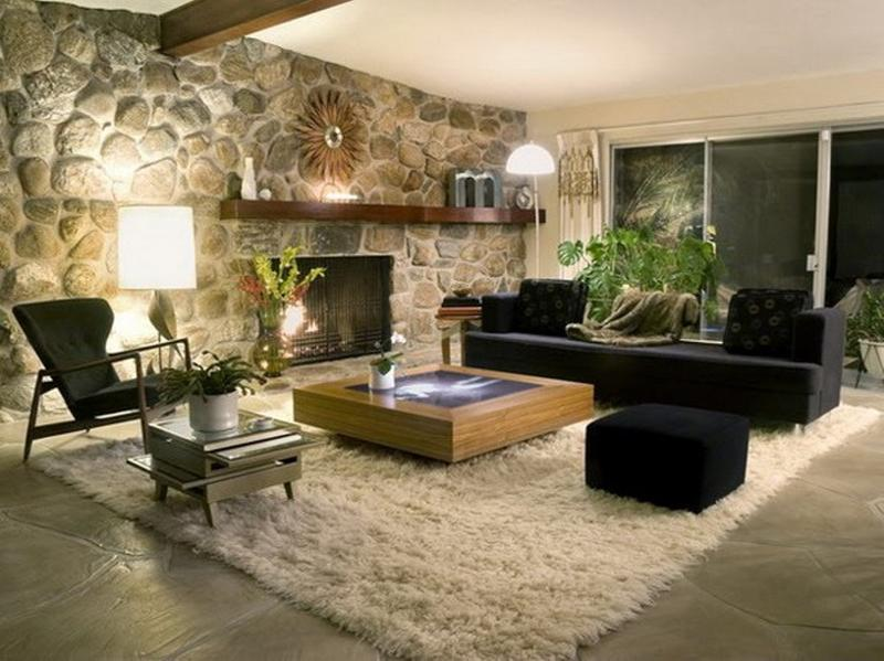 Lovely 15 Living Room Designs With Natural Stone Walls Part 4