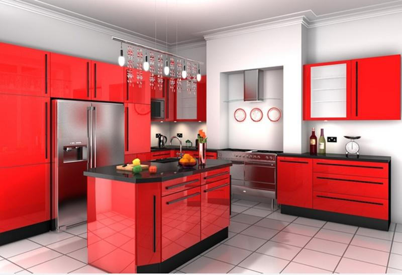 15 contemporary kitchen designs with red cabinets rilane. Black Bedroom Furniture Sets. Home Design Ideas