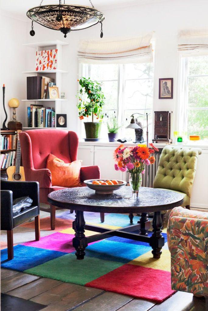 20 inspiring bohemian living room designs rilane for Colorful living room sets
