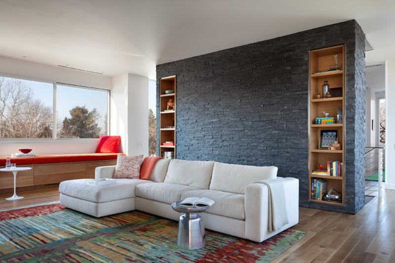 Awesome Contemporary Living Room With Black Stone Wall Part 10