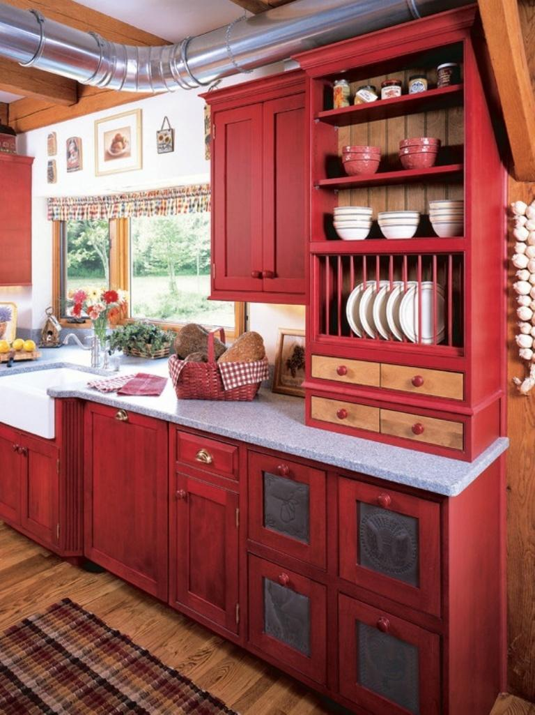 15 Contemporary Kitchen Designs with Red Cabinets - Rilane