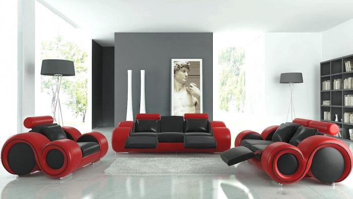 Futuristic Black And Red Furniture In Airy Living Room