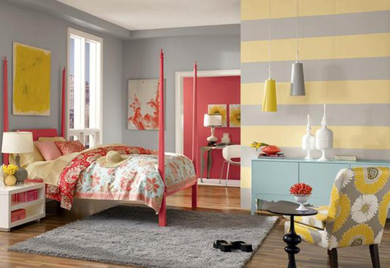 Exceptionnel Gray And Yellow Striped Walls