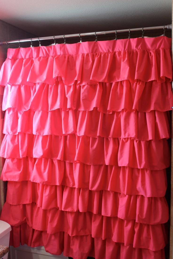 Hot pink curtains - Hot Pink Ruffled Shower Curtain