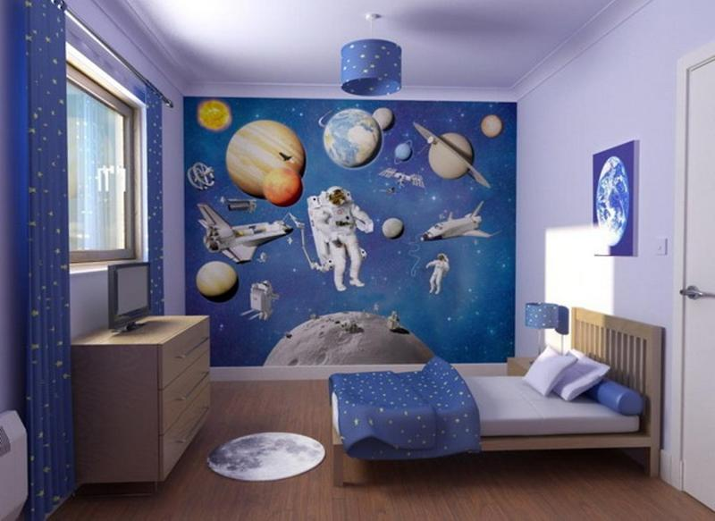 Fun Space Themed Bedrooms For Boys Rilane - Space kids room