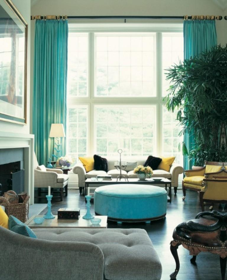 lively turquoise living room curtain - Curtain Design Ideas For Living Room
