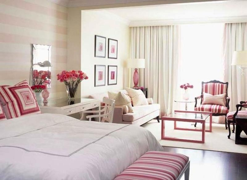 Master Bedroom With Pink Striped Walls