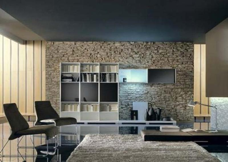 modern living room with stacked stone wall - Interior Stone Wall Designs