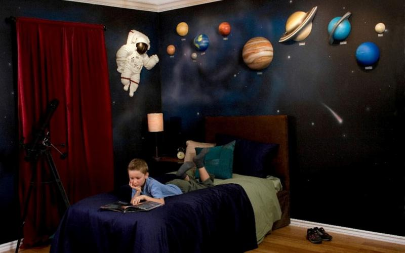 modern space themed bedroom