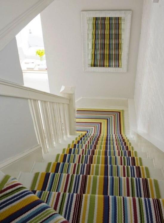 15 Striped Stairs Runners Designs For the Hallway
