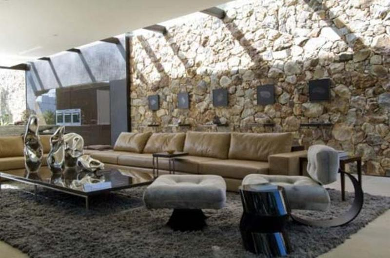 15 living room designs with natural stone walls - rilane