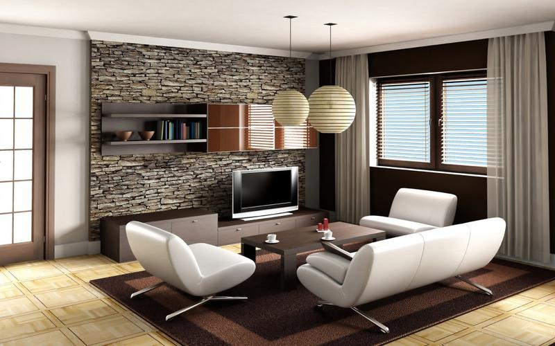 Superb Wall Pictures For Living Room Part - 8: Open Living Room With Stacked Stone Wall