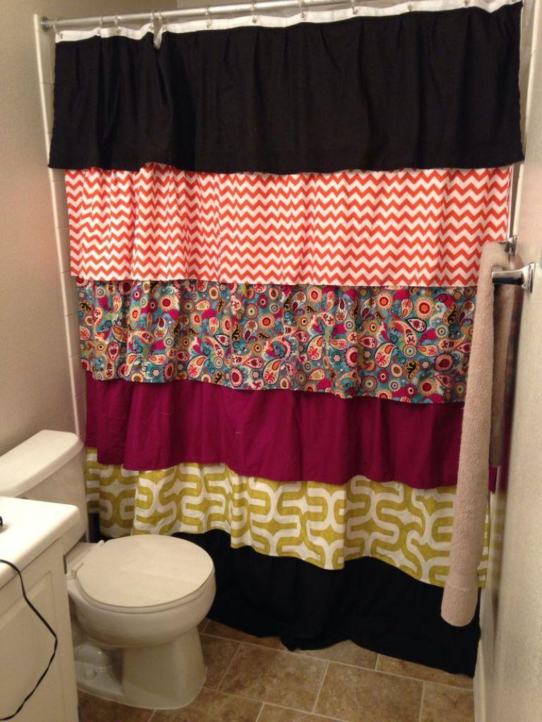 Patchwork Ruffled Shower Curtain