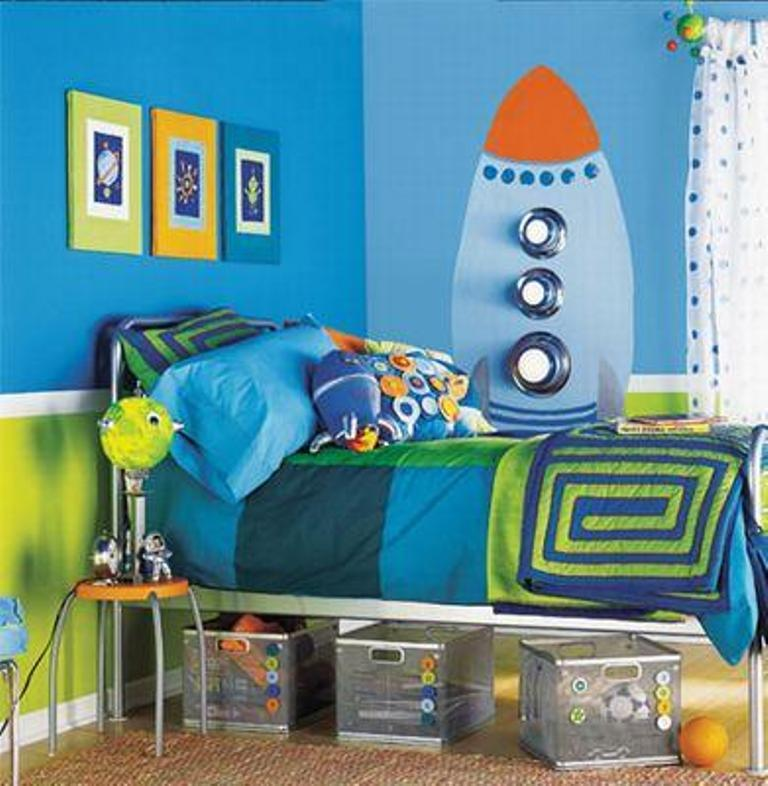 perky space themed bedroom - Boy Bedroom Theme
