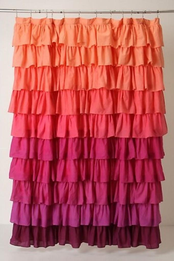 Pink Ruffled Shower Curtain