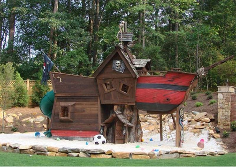 15 amazing outdoor playhouse ideas rilane for Whimsical playhouse blueprints