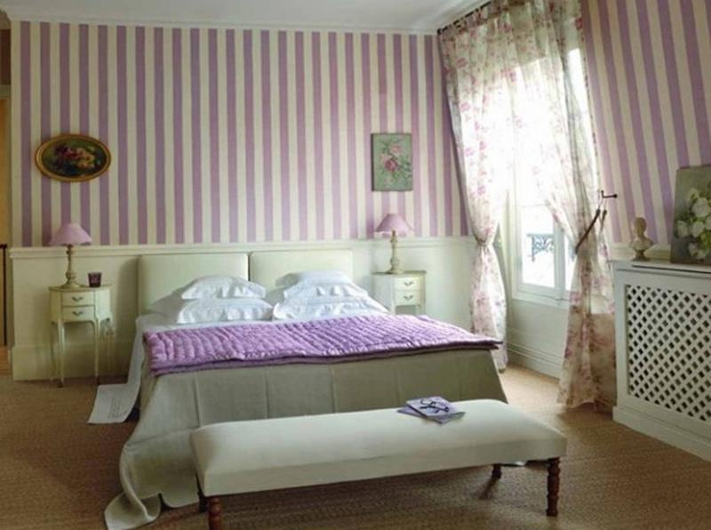 Purple Striped Bedroom