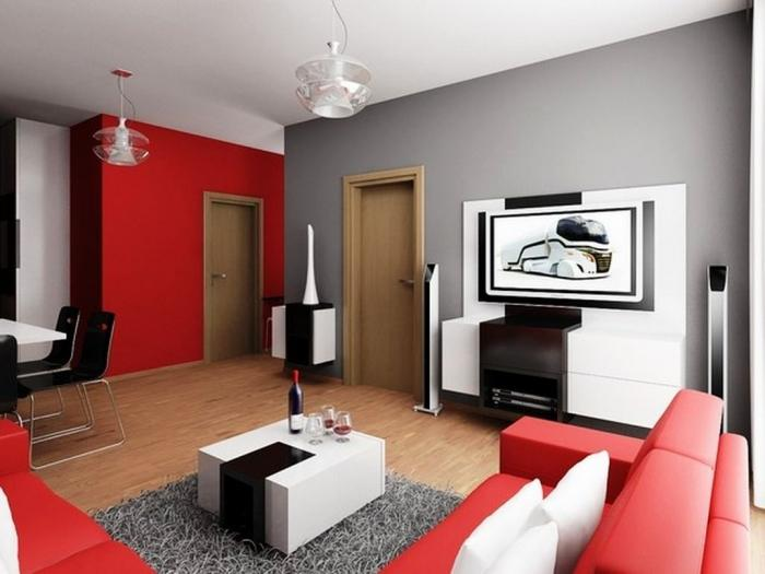 Modern Living Room Red And Black 15 black, red and white themed living rooms - rilane