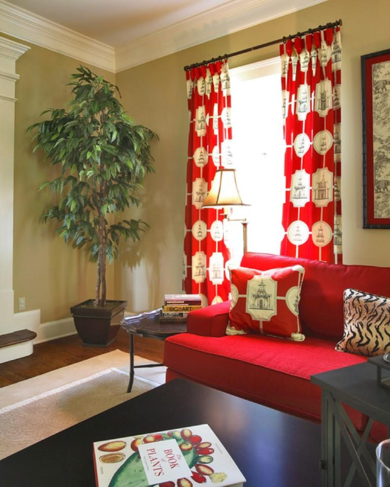 Captivating Red And White Living Room Curtain