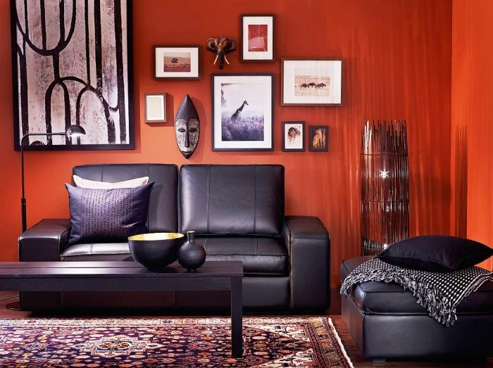 15 black red and white themed living rooms rilane Orange and red living room design