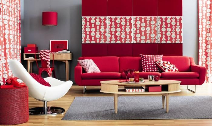 Captivating Red, White And Grey Dotted Living Room