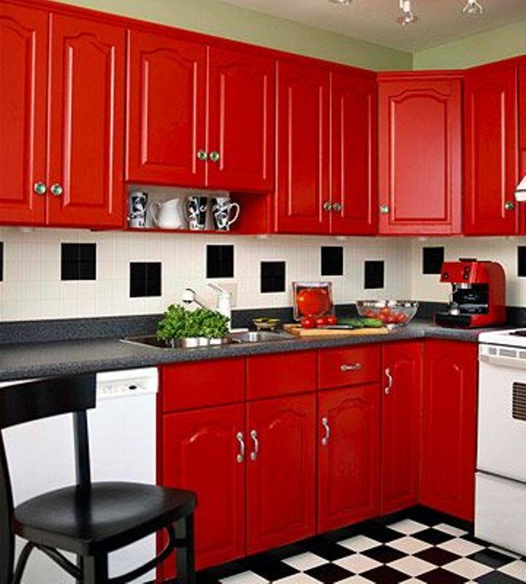 Retro Kitchen With Red Cabinets