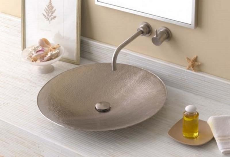 silver copper bathroom sink