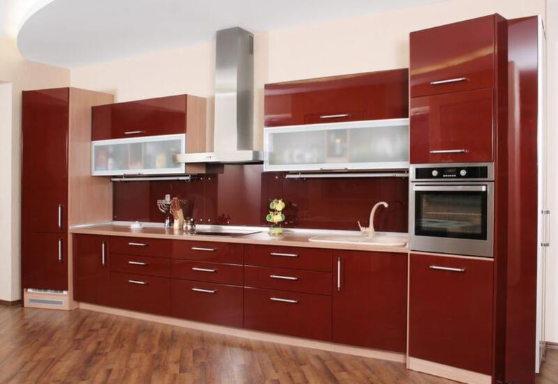 Sleek Kitchen With Burnt Red Cabinets